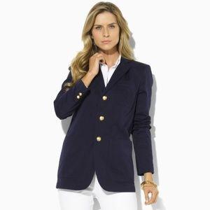 [Ralph Lauren] Blue Taylor Twill Crest Blazer #E15